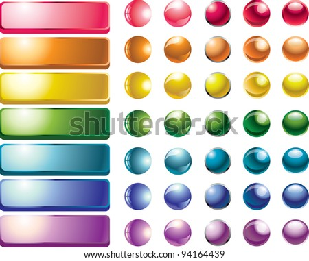 set of colored web buttons and spheres