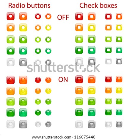Set of colored web radio buttons and check boxes