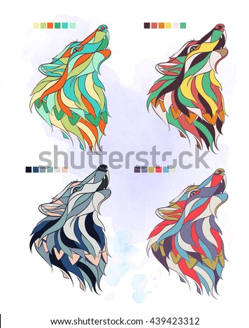 set of colored wolfs on the