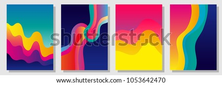 Set of colorful A4 covers with fluid shapes. Template for books, cards, banners, posters. Minimalistic design with color gradients. Rainbow shades palette.