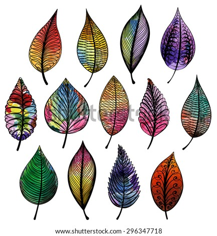 set of colorful abstract leaves