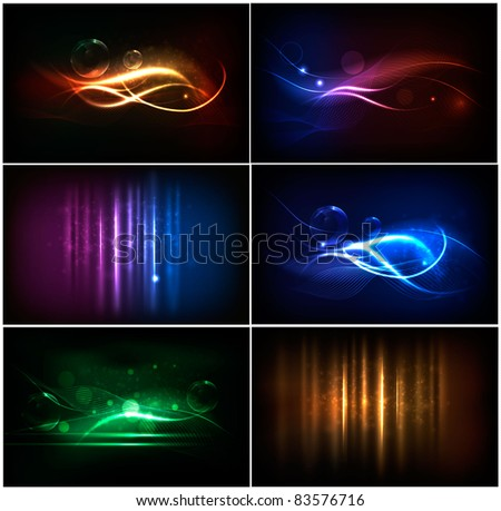 Set of colorful abstract neon backgrounds. Vector.