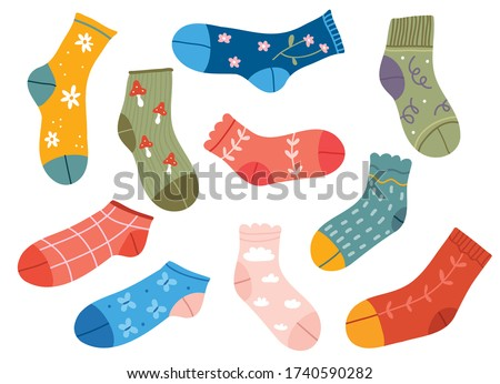 Set of colorful and funny socks.Variety of funny socks  with different textures isolated on white background.Vector illustration fashion collection trendy  clothes.Colorful pastel cute socks.