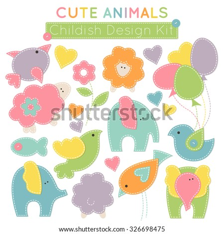 Set of colorful animals (baby birds, cute elephants, little lambs etc.) - design elements for babies (children\'s wear, decoration). Stylized applique with white seams. Vector illustration.