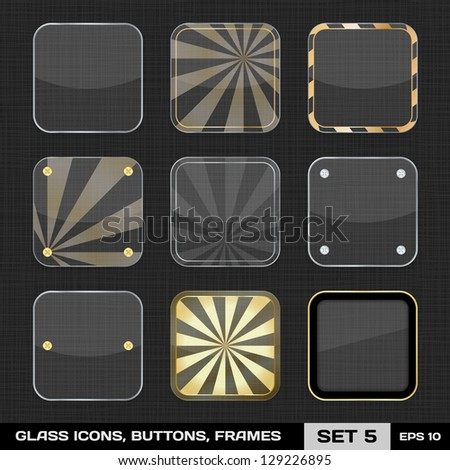 Set Of Colorful App Icon Frames, Templates, Buttons. Set 5. Vector