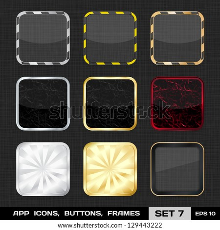 Set Of Colorful App Icon Frames, Templates, Buttons. Set 7. Vector