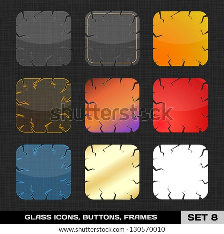 Set Of Colorful App Icon Frames, Templates, Buttons. Set 8. Vector