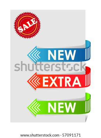 Set of colorful arrows pointing and sale stamp