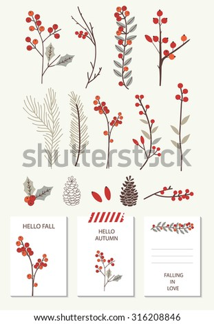 Set of colorful autumn leaves. Vector illustration. Vintage autumn collection with template cards.