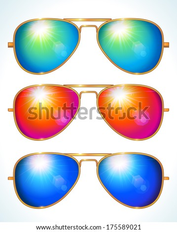 colorful aviator sunglasses  Set Of Colorful Aviator Shape Sunglasses - Vector Illustration ...