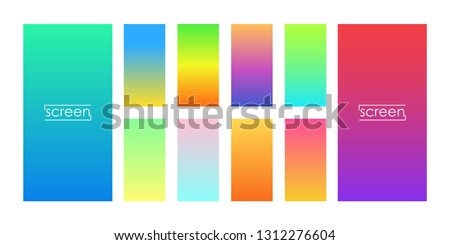 Set of colorful backgrounds for smartphone. Soft color gradients. Modern display themes. Template design for mobile app. Vector illustration