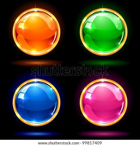 Set of colorful balls on dark background, illustration