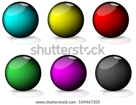 Set of colorful balls on white background, illustration