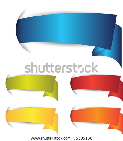 set of colorful banner or ribbons