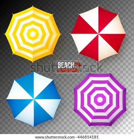 set of colorful beach umbrellas