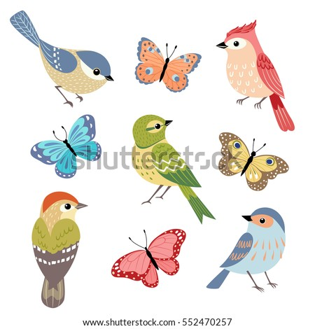 set of colorful birds and...