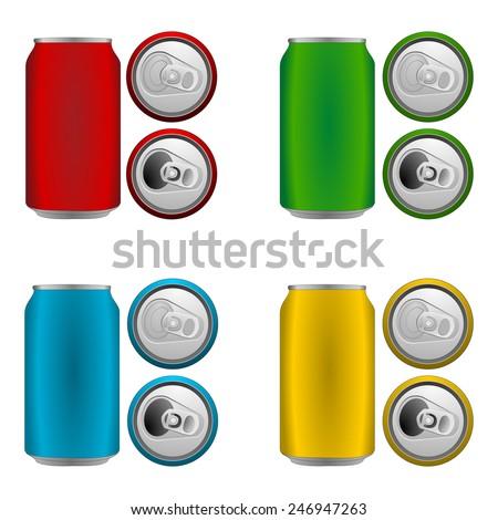 set of colorful blank aluminium