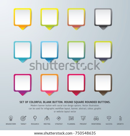 Set of colorful blank button. Round square rounded buttons. Can be used for info-graphic, workflow, layout, banner, abstract, colour, graphic or website layout vector, business, and  marketing.