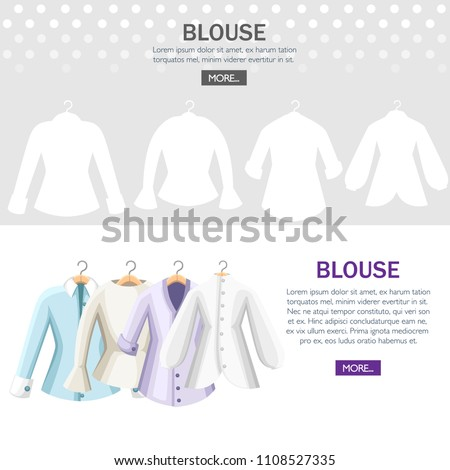 Set of colorful blouses. Collection of women blouse. Clothes on hangers. Flat vector illustration on textured background. Web site page and mobile app design.