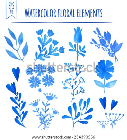 set of colorful blue leaves