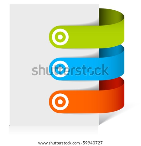 Set of colorful bookmarks (green, blue, red)