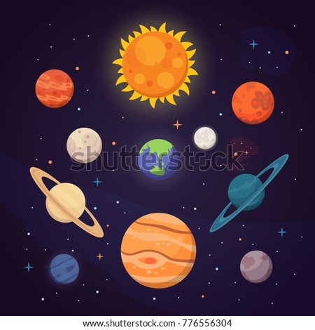 set of colorful bright planets