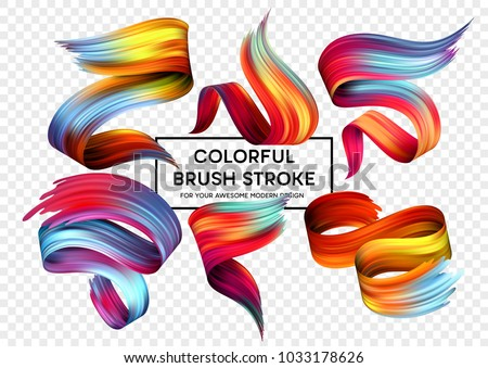 Set of colorful brush strokes. Modern design element. Vector illustration - Shutterstock ID 1033178626