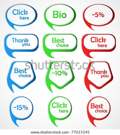 Set of colorful  bubble speech. Vector illustration. - stock vector