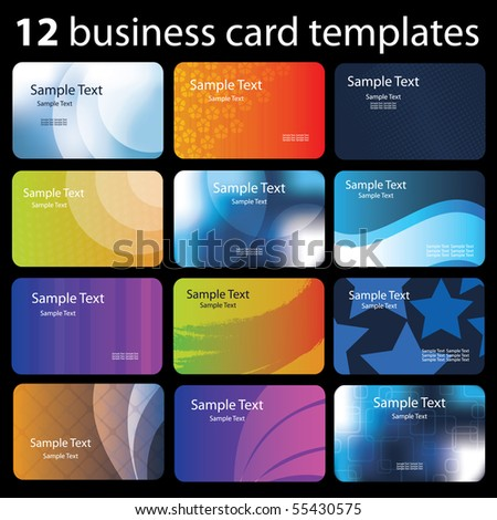 Set of colorful business cards - stock vector