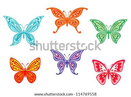 Set of colorful butterflies isolated on white background. Jpeg version also available in gallery
