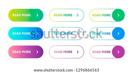 Set of colorful buttons Read More. Vector illustration on a white background. Flat button. Read more on a trendy gradient. Web element #1296866563