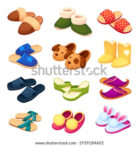 Set of colorful cartoon funny house slippers vector flat illustration. Collection of home footwear with cute animal muzzle isolated on white. Comfortable pair of foot garment. Fluffy leg fashion Foto stock ©