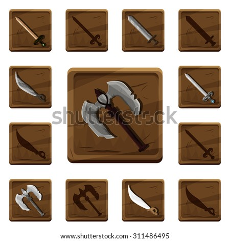 set of colorful cartoon wooden