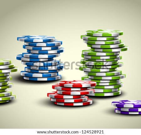 set of colorful casino chips