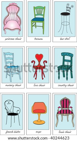 set of 9 colorful chair icons