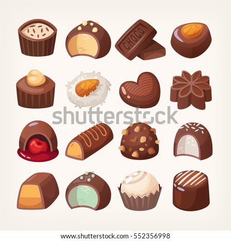 set of colorful chocolate