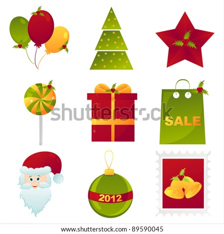 set of 9 colorful christmas icons