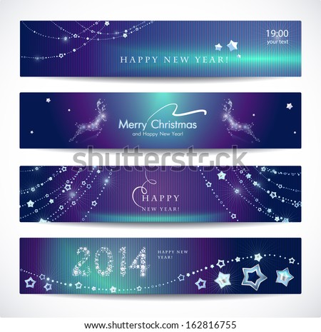 set of colorful christmas new year banners