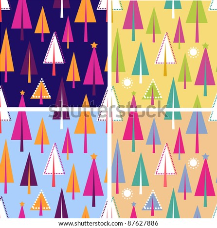 Set of colorful christmas seamless patterns - stock vector