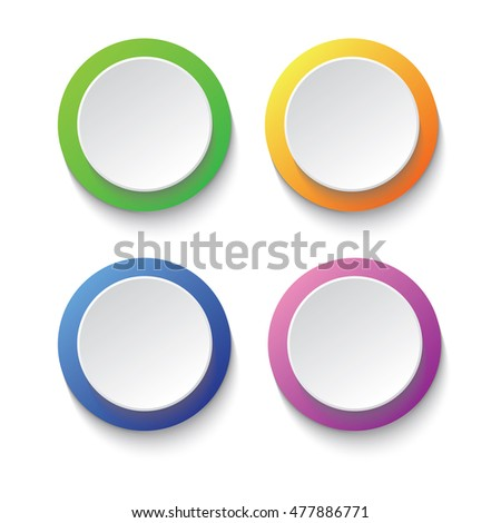 Set of colorful circle buttons such green, orange, blue, and purple; infographic vector