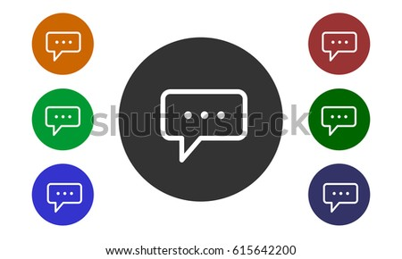 Set of colorful circular icons, comments on websites and forums and in e-shop with a button and a picture bubbles isolated on white background - vector