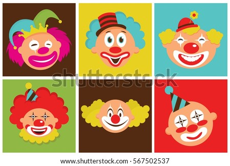 set of colorful clown heads