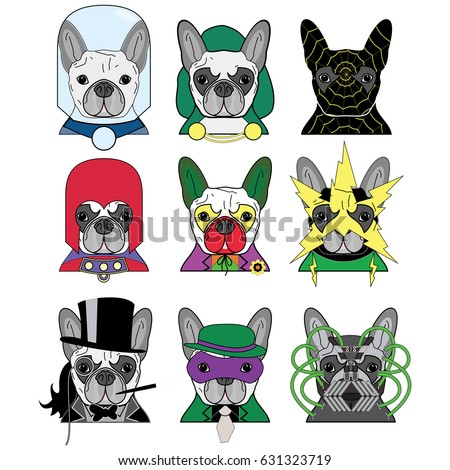 Set of colorful comic book villain charters as French bulldogs