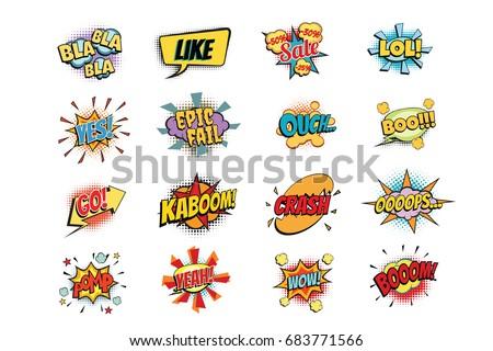 set of colorful comic speech