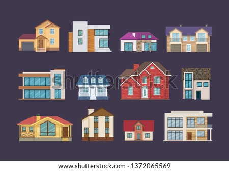 set of colorful country houses