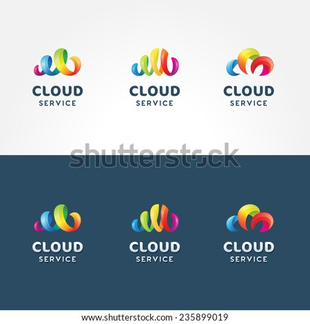 set of colorful 3d iconic logo