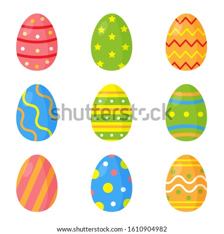 Set of colorful decorated Easter eggs. Zdjęcia stock ©