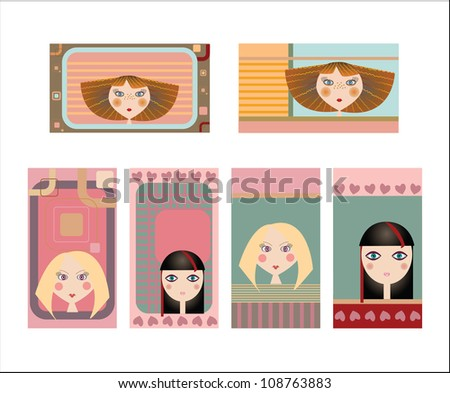 Set of colorful decorative business cards featuring attractive girls with stylish hair styles