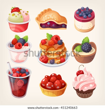 set of colorful desserts with
