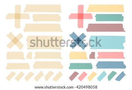 Set of colorful different size sticky, adhesive tape, banners pieces are stuck on white wall
